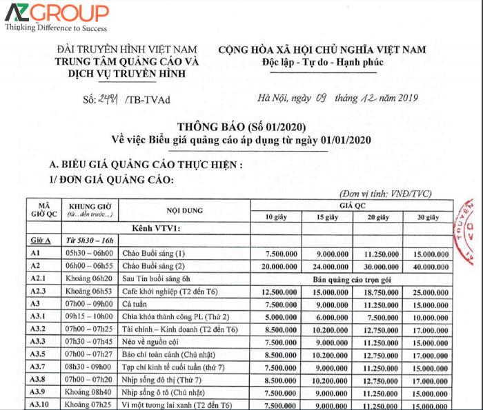 Bảng giá quảng cáo VTV