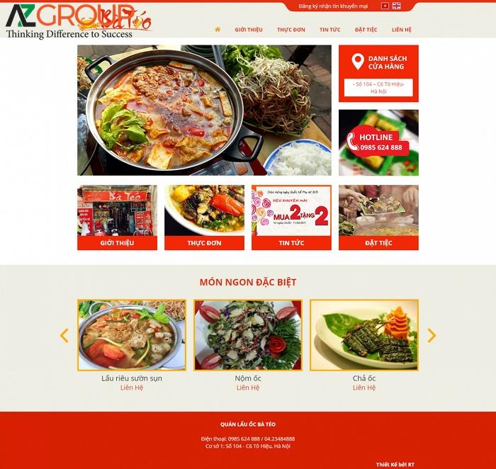 Những vấn đề trên website ẩm thực