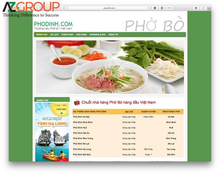 Dịch vụ chăm sóc website ẩm thực