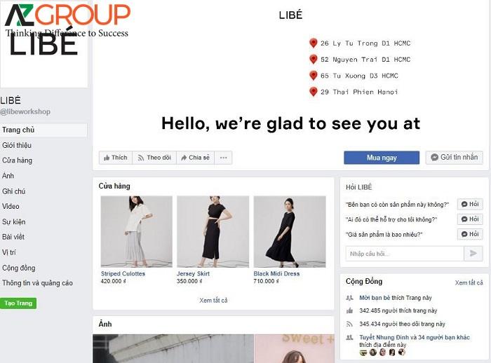 Fanpage của các shop thời trang