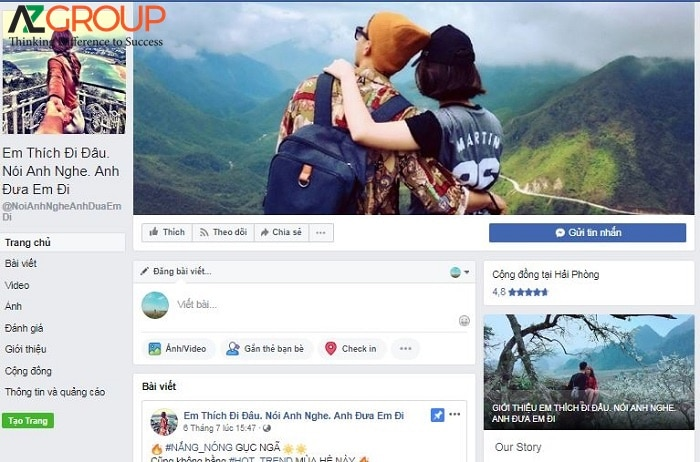 Travel fanpage is a place to take the customer's trust
