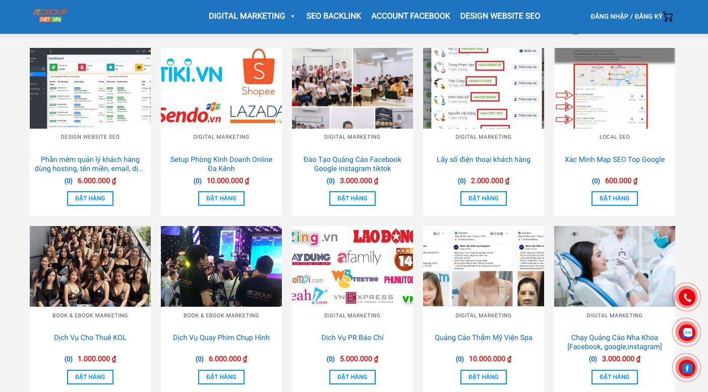 dịch bảng giá dịch vụ Marketing Online trọn gói